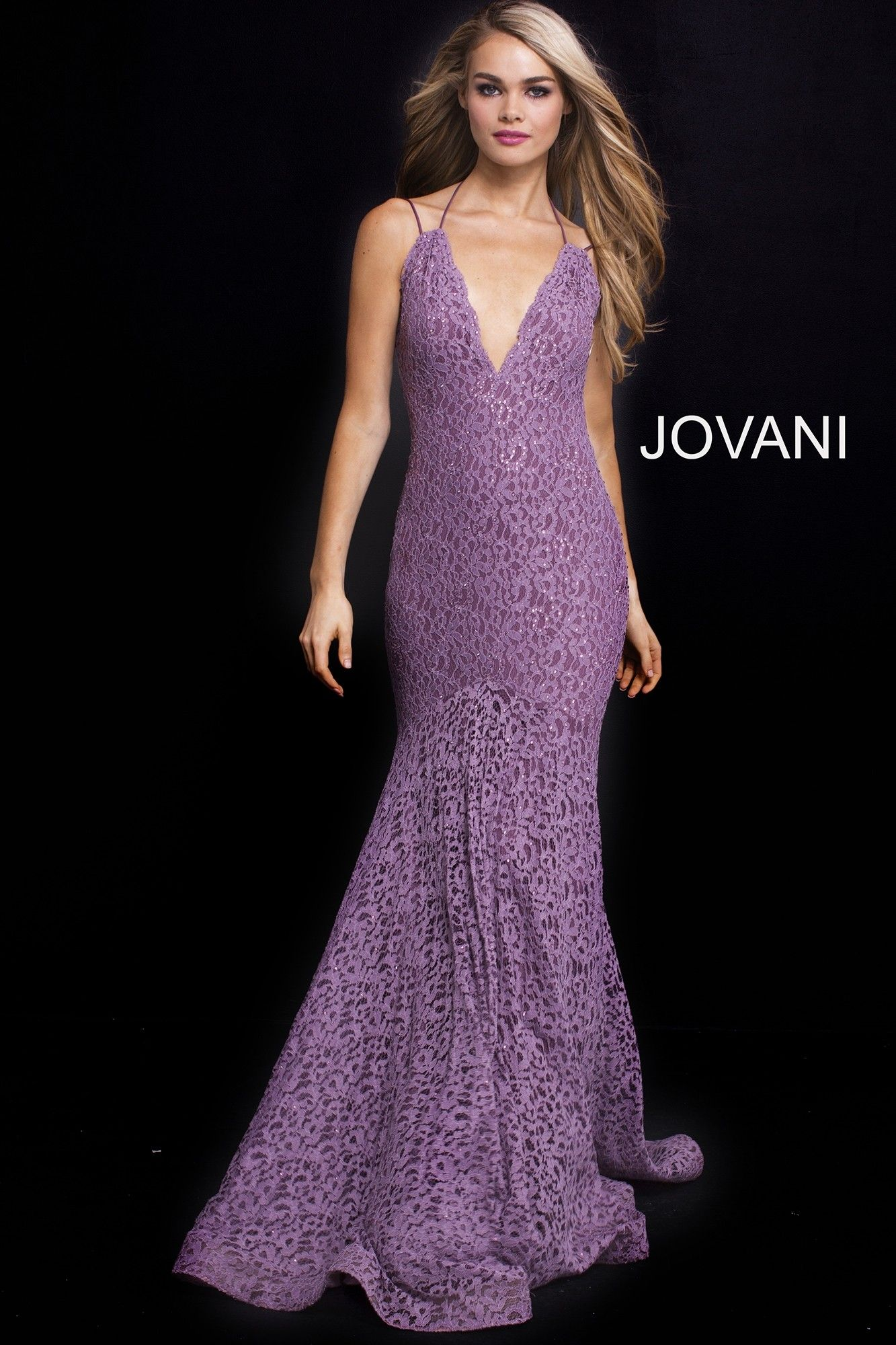 Jovani 58662 Deep V-Neck Lace Mermaid Gown