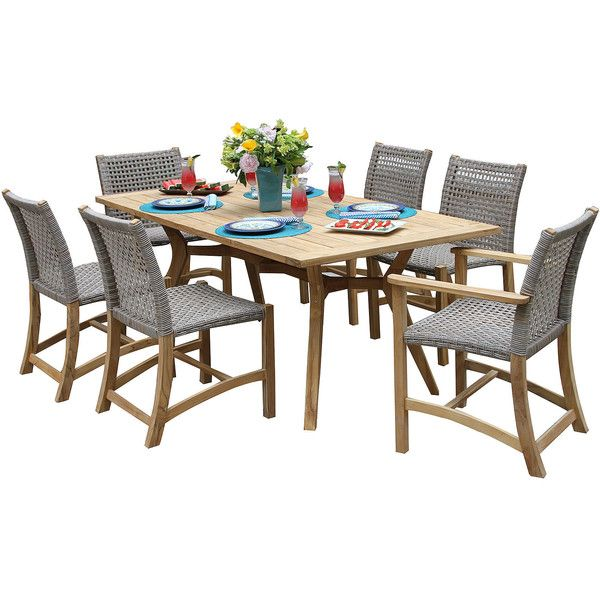 Outdoor Interiors 7 Piece Nautical Teak Dining Setwith Teak And Wicker 5 046 Liked On Clearance Outdoor Furniture Wicker Dining Chairs Patio Dining Set
