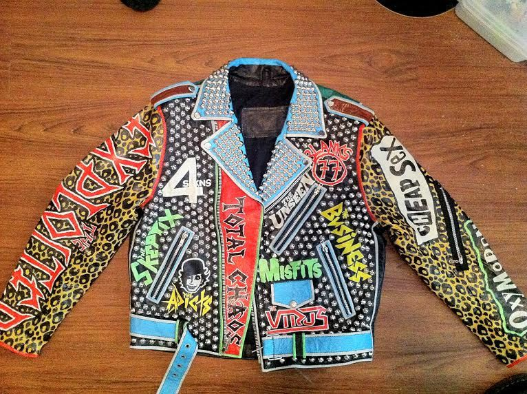 Studded Punk Jacket Fear Misfits D.O.A Exploited Size by debuts
