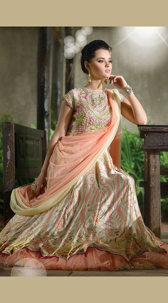 Indo western wedding dress for women  You look very pretty in this fashionable salmon crepe silk readymade