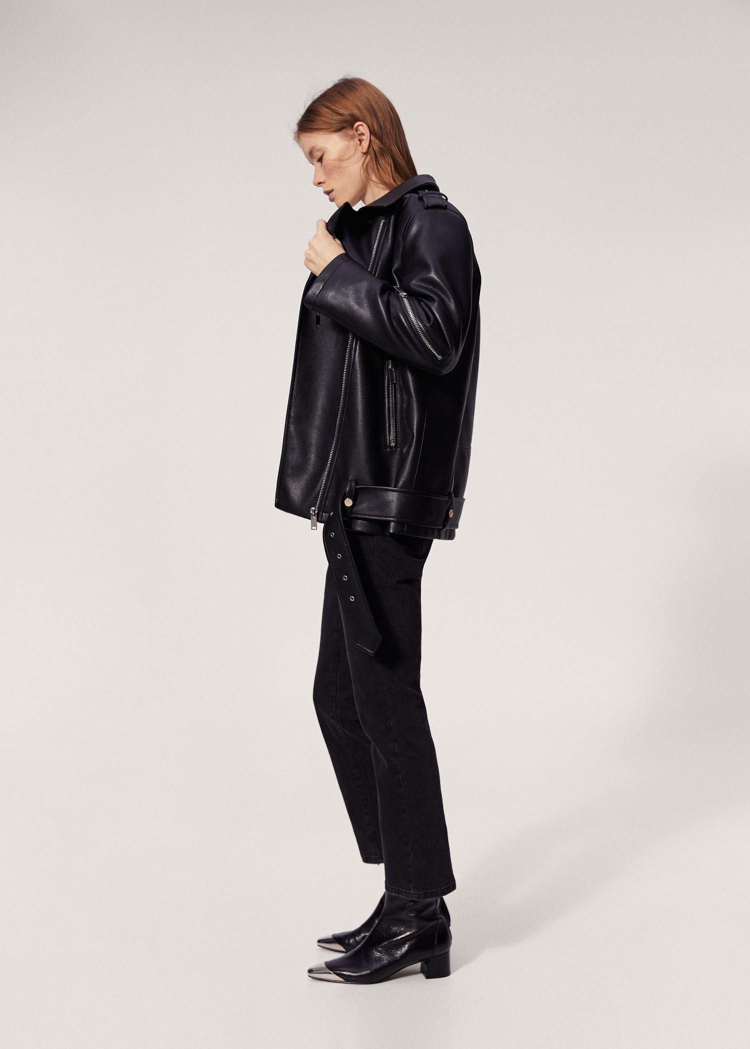 Mango Biker Oversize Jacket - F Foleather Women   XS   Products ... fa5a2721d36c