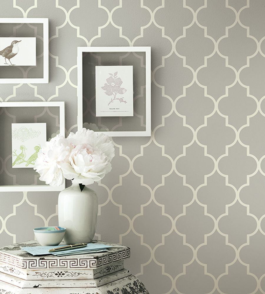 Grey contemporary geometric wallpaper simplicity two for Grey feature wallpaper bedroom