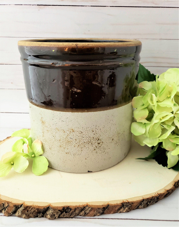 Salt Glazed Stoneware Pottery Brown & Tan Crock