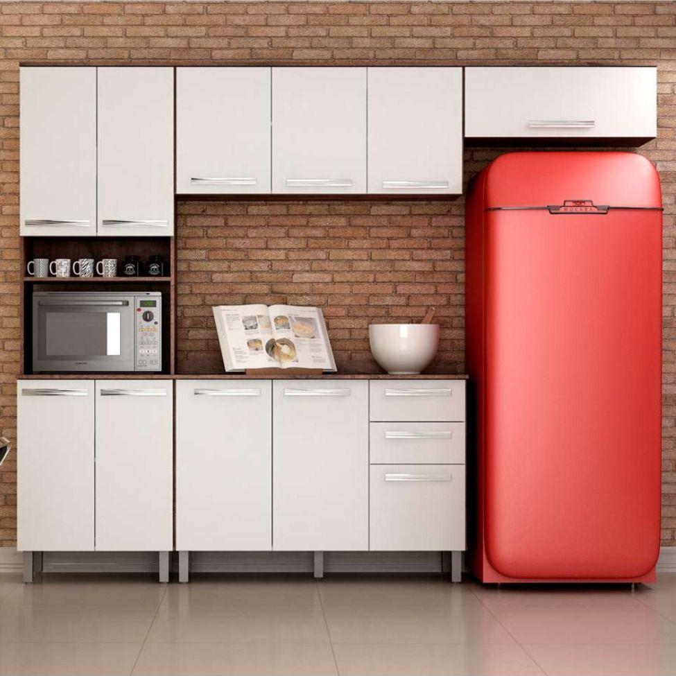 Cozinha Compacta Alpes 11 Pt 2 Gv Castanho E Branca Em 2020
