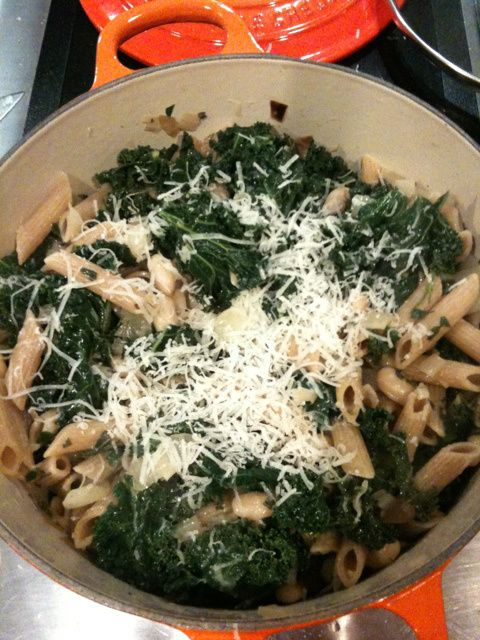 Kale and white bean sauce pasta stuff, easy and cheap and I want to try it, despite a historic dislike of beans