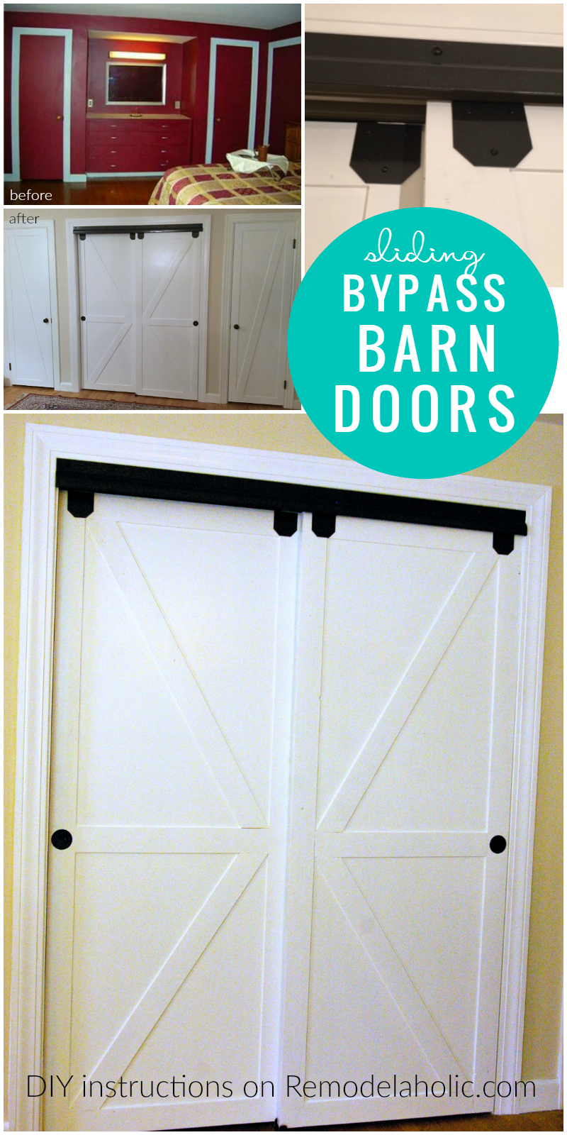 Diy Double Sliding Bypass Barn Doors Remodelaholic Bypass Barn Door Double Closet Doors Barn Door