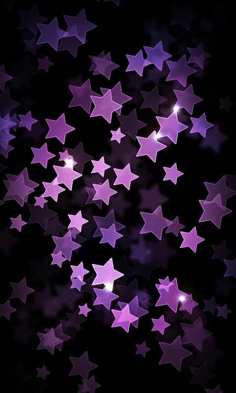 Purple 3d Stars On Black Color Iphone Wallpaper Lock Screen