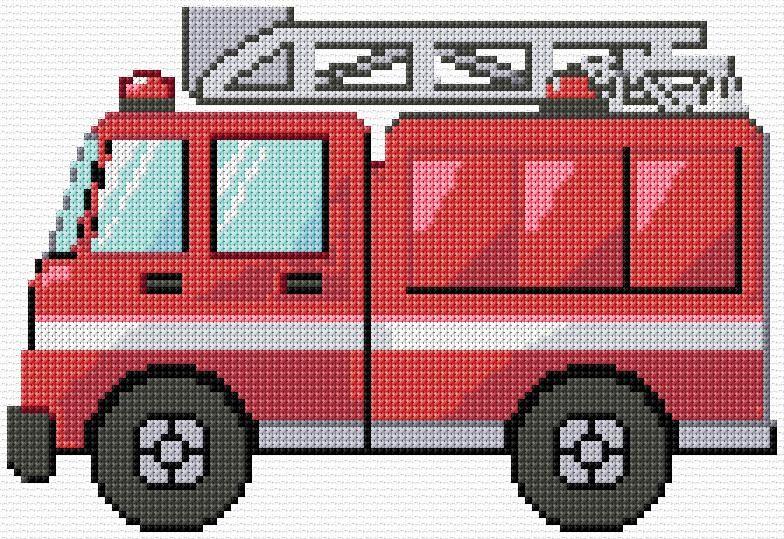 Punto de Cruz | Camión de Bomberos Gráfico xstitch | Diseño