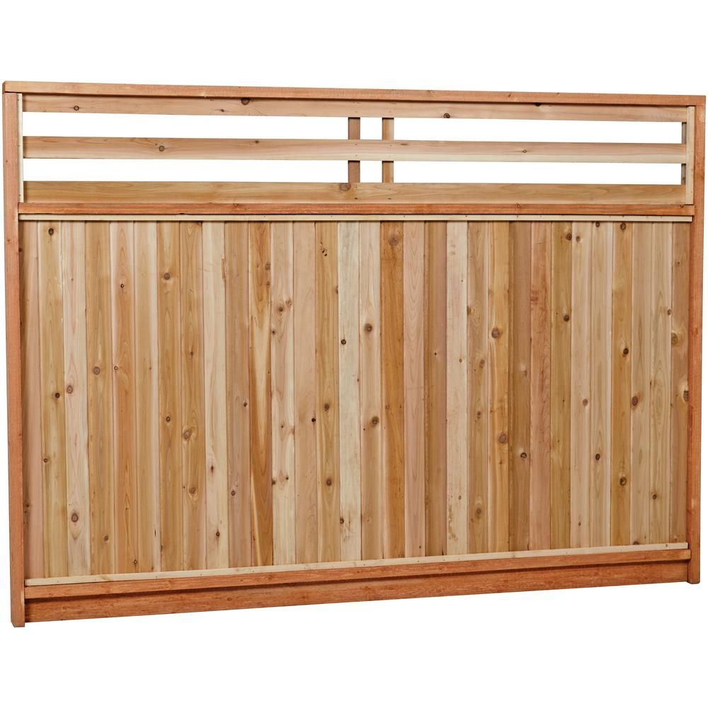 6 Ft X 8 Ft Premium Cedar Venetian Top Fence Panel With Stained