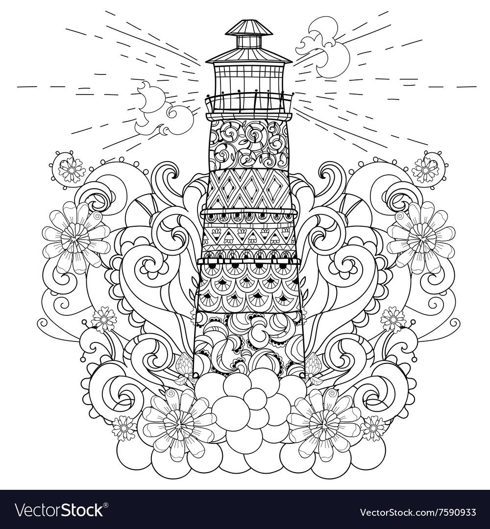 Hand Drawn Doodle Outline Lighthouse Decorated With Floral Ornaments Vector Zentangle Illustration Floral Ornament How To Draw Hands Lighthouse Coloring Books
