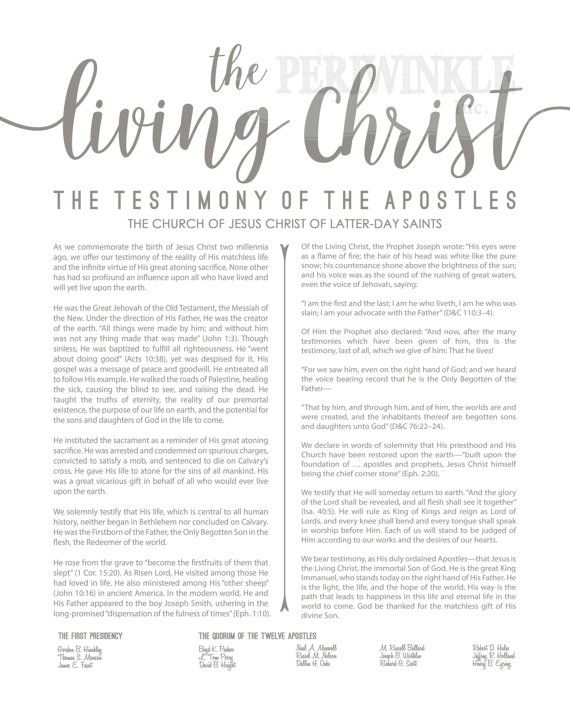 photo about The Living Christ Free Printable called LDS-Family members Proclamation-Dwelling Christ Content articles of Religion