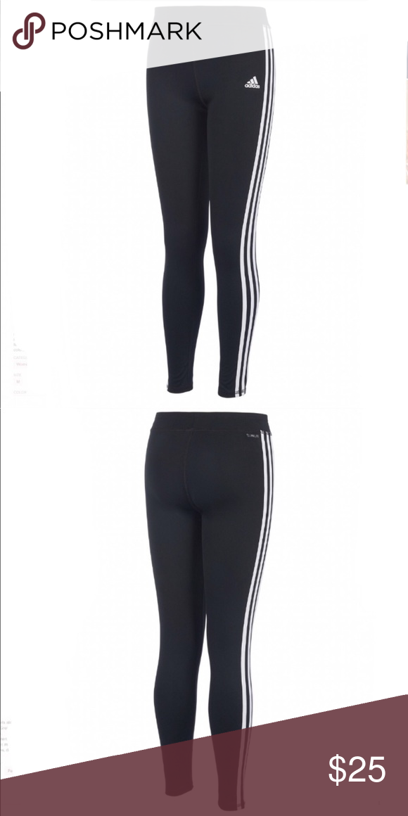 4f8365f23ae02 Adidas Leggings Classic 3 stripe leggings. Mid rise skinny fit through hips  and thighs. Pull-on styling with inner drawstring. Climate fabric keeps  sweat ...