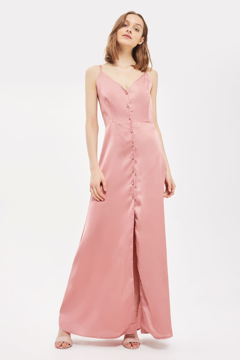 Satin Button Down Maxi Dress by Oh My Love - Dresses - Clothing ...