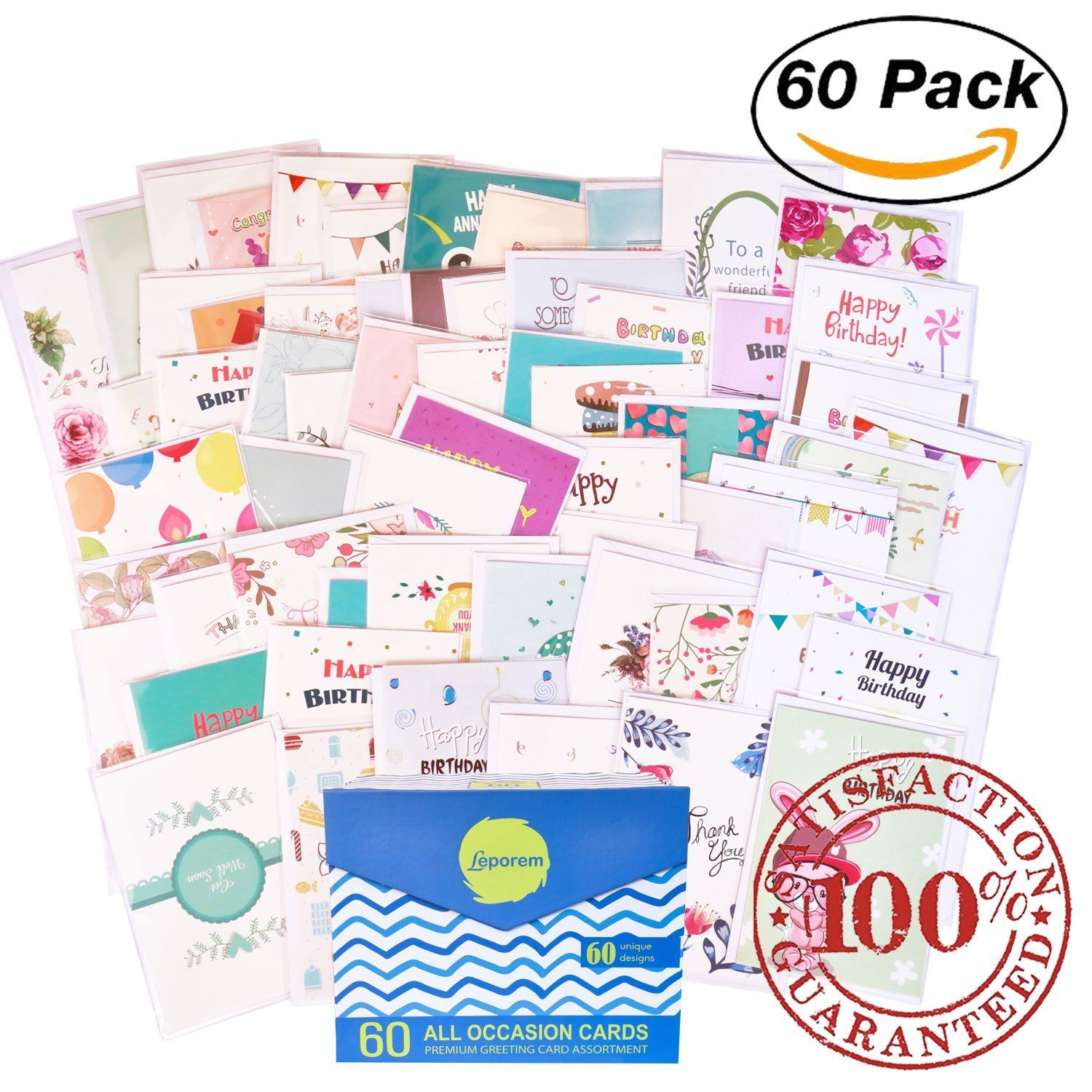 Amazon 60 Pack Assorted All Occasion Greeting Cards With A Magnetic Organizer 5 X 7 Inches Happy Birthday Get Well Thank You Card Assortment