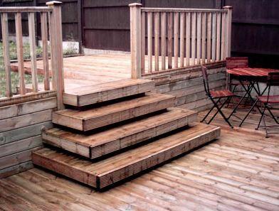 Deck stairs buscar con google caba as altillo for Escalera de madera al aire libre precio