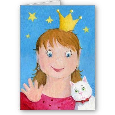 Princess Girl - Birthday Card,painting by dutch illustrator Ans Collijn.