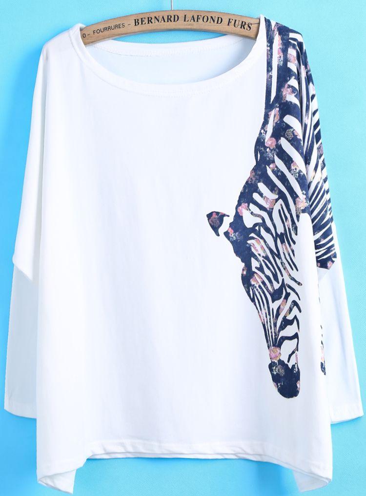 White Long Sleeve Zebra Print Loose T-Shirt - Sheinside.com