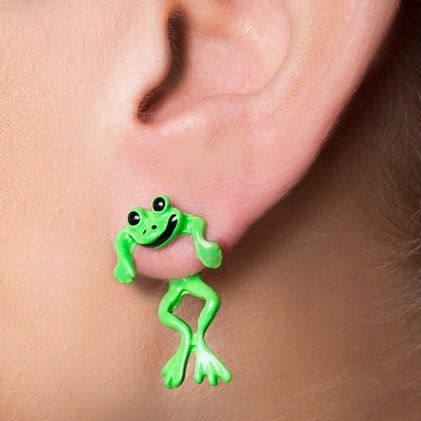Bright Green Frogs Front And Back Stud Earrings Claire S Frogs