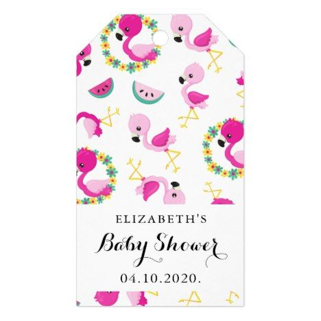 Baby Shower - Tropical Pattern, Flamingos, Flowers Gift Tags | Zazzle.com #tropicalpattern