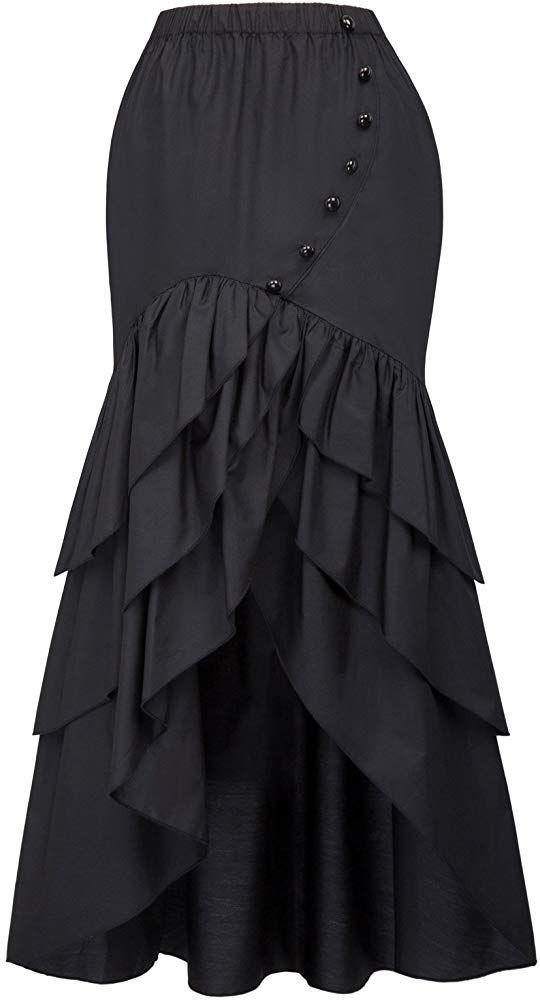 Fashion Steampunk Victorian High Waist Rüschenrock Asymmetrischer Rock BP4061 Mdesign