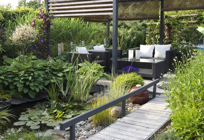 Moderner Reihenhausgarten mit Teich Rund ums haus Pinterest
