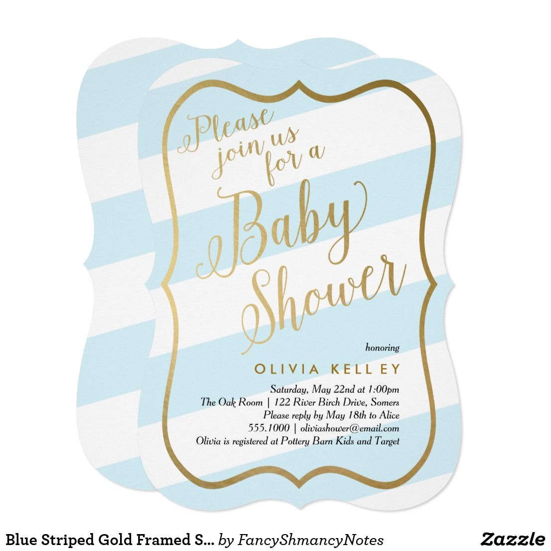 Blue Striped Gold Framed Script Boy Baby Shower Card This trendy ...