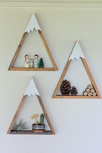 Photo of SET OF 3- Woodland Nursery, Mountain Shelf, Geometric Shelf, Floating Shelf, Boy Nursery, Mountain, Nursery Shelf, Reclaimed Wood, Triangle