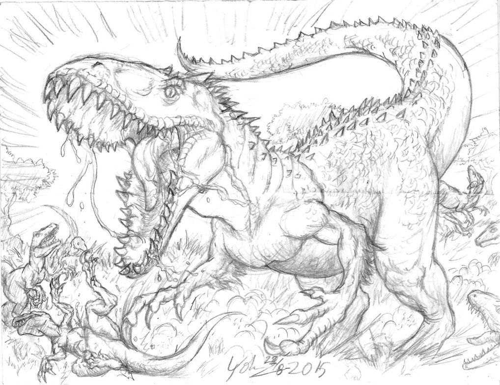 Indominus Rex Vs Velociraptors by Artknight75 Indominus