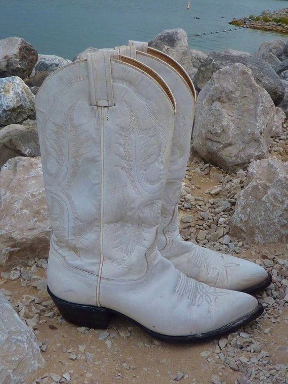 be75539ca87 Vintage White Tony Lama Womens Cowboy Boots by RavenAngelLeather ...