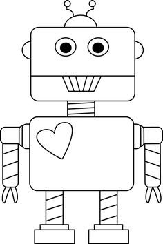 Black And White Valentine S Day Robot Valentine Coloring Pages