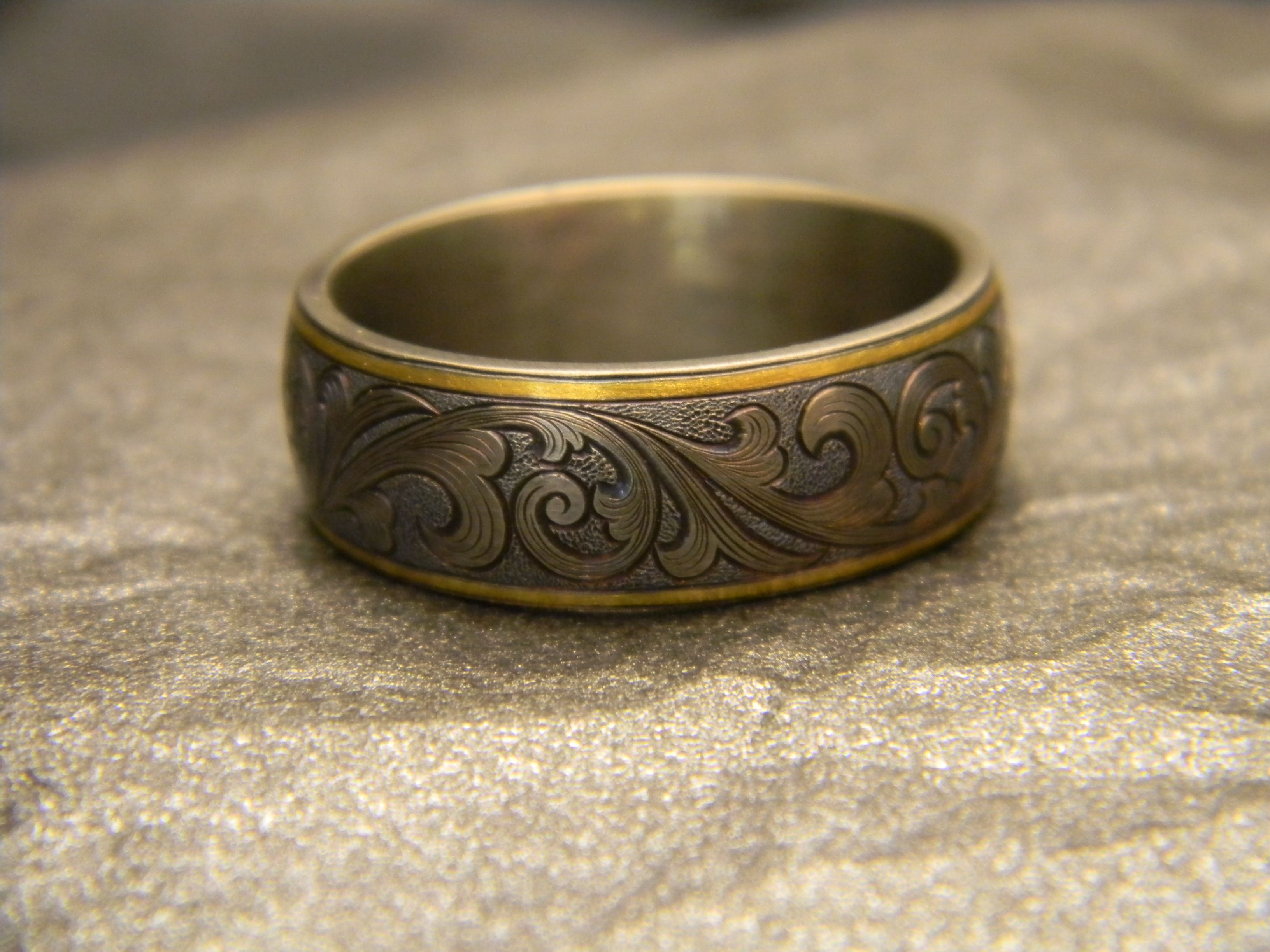 8mm Titanium Engraved Ring with 24K Gold Rims with JHook