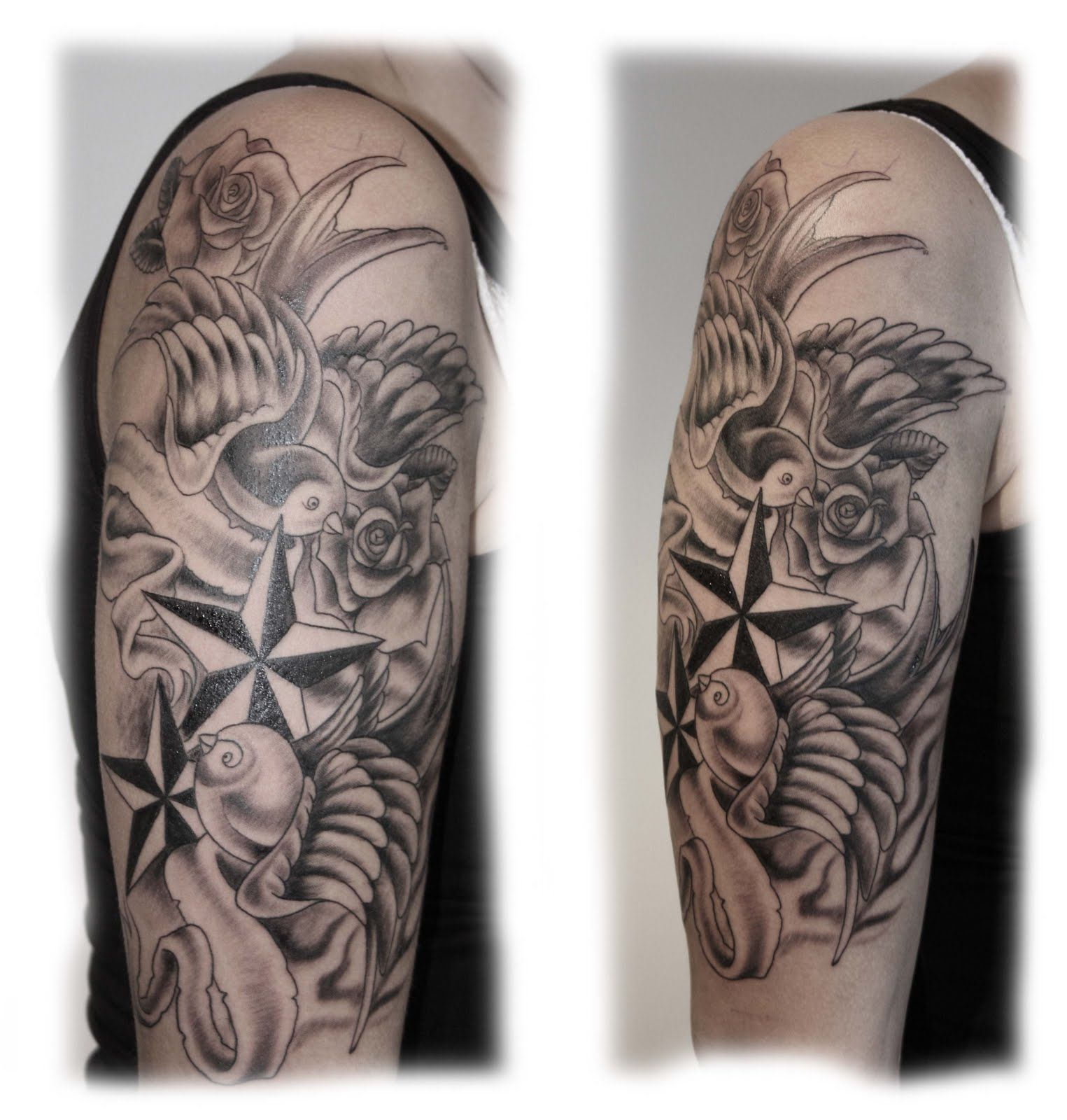 Black And Gray Swallow Nautical Star Roses Swallows Etc Ink