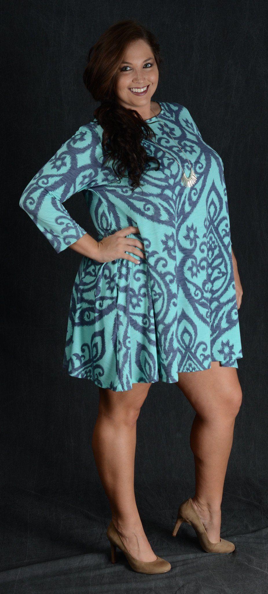 f7a303c747b Gray   Light Blue Damask Dress - Curvy Plus Size Boutique - 1 ...