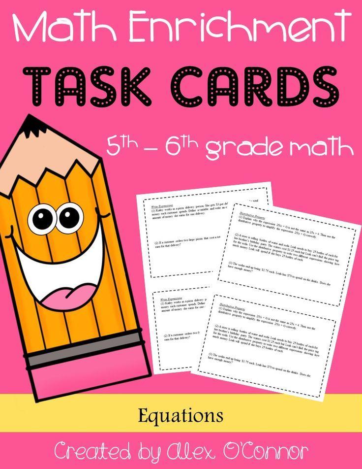 Math Enrichment Problems (Equations) 6th Grade Math