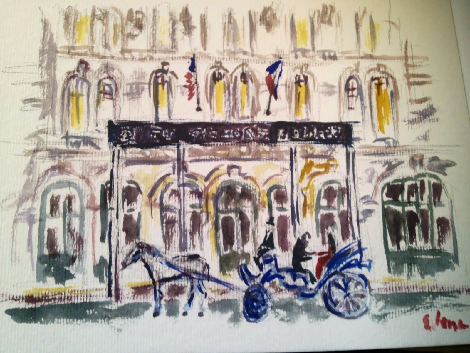 Watercolor Of Horse Drawn Carriage In Front Of The Tremont House