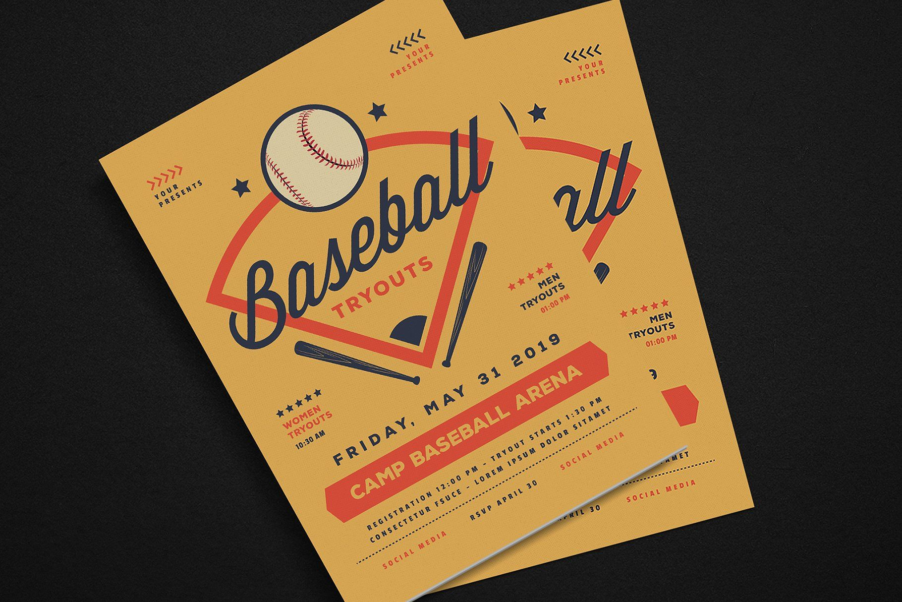 baseball tryouts flyer files psd cmyk features 3d design