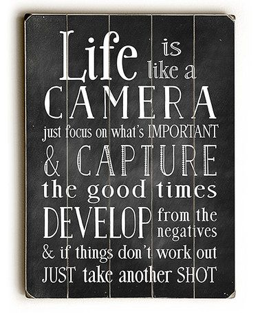 Life Is Like A Camera Wall Art Inspirational Quotes Words Quotes
