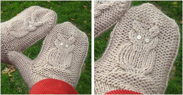Hooty Owl Knitted Cable Mittens Free Knitting Pattern Knitting