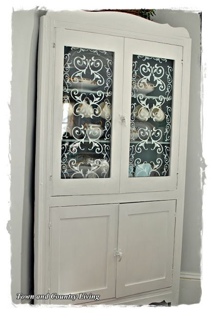 Stenciled Glass Cabinet Doors Town Country Living Glass Cabinet Doors Glass Cabinet Cabinet Doors