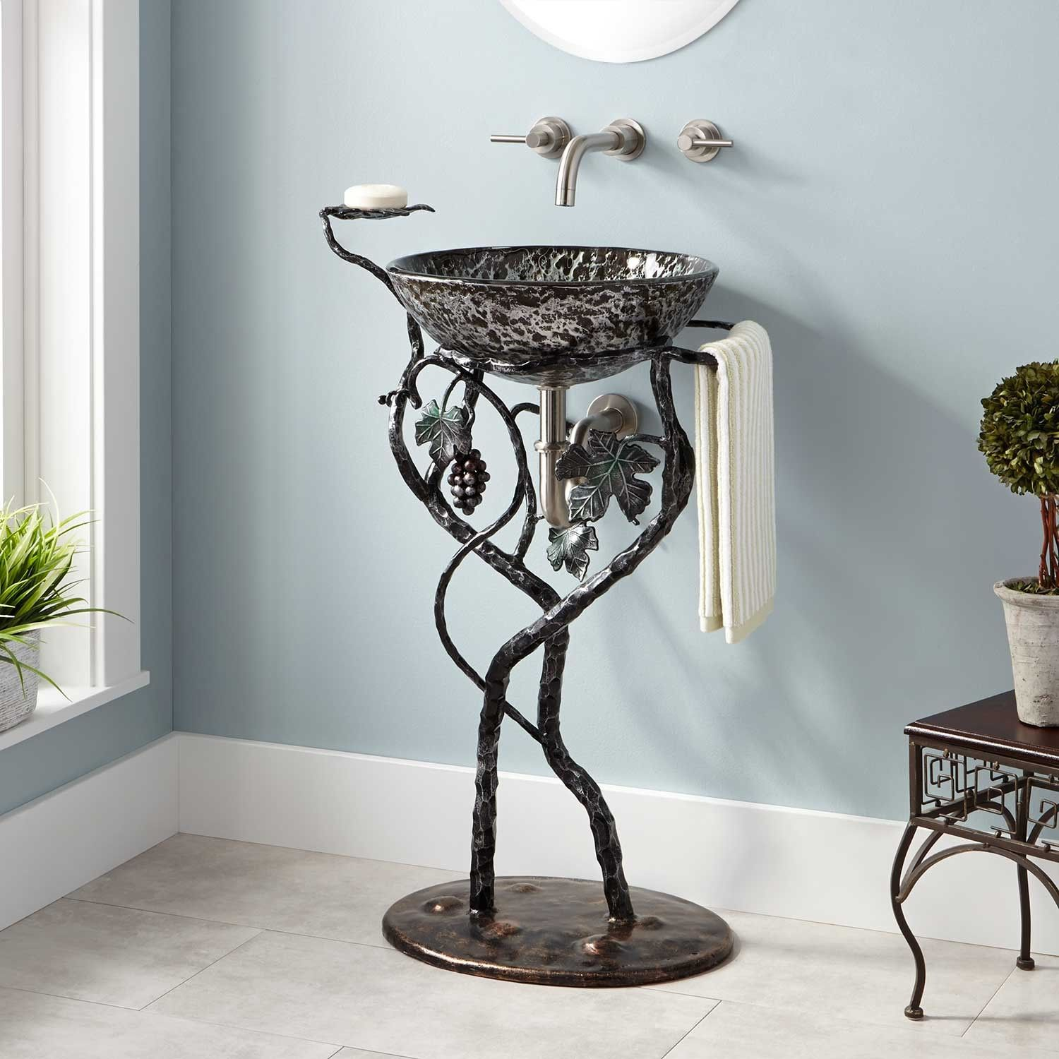 Grapevine wrought iron sink stangd gunmetal bring it together extras in 2019 wrought iron for Wrought iron bathroom furniture