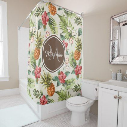 Exotic Tropical Pineapple Floral Brown Monogram Shower Curtain ...