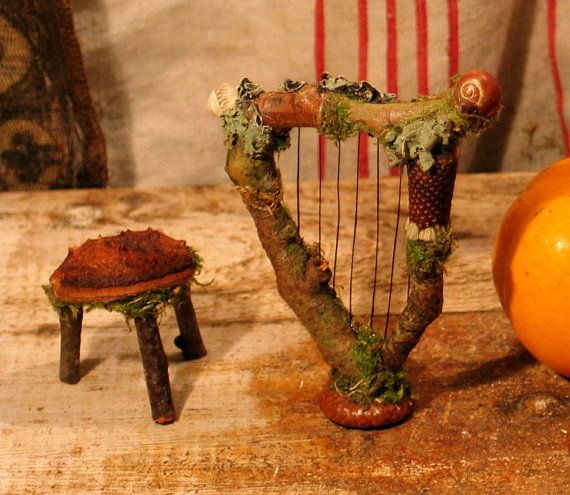 Faery Harp And Three Legged Stool Miniature Dollhouse