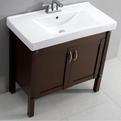 Ottis 36 In Vanity In Tobacco With Porcelain Vanity Top In White Bf90218 Vanity Top Vanity Guest Bathrooms