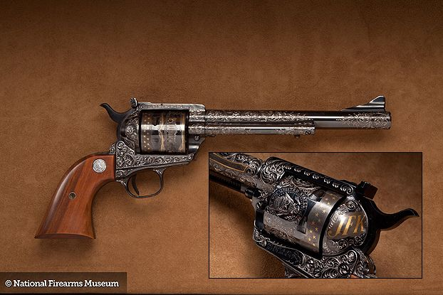 With a serial number of PT-109, Colt manufactured this custom New Frontier Colt for President John F. Kennedy. The 35th president never received his revolver as a result of his tragic assassination in 1963.  Read more: http://www.handgunsmag.com/2012/02/17/presidential-pistols/#ixzz33w8lUXF8
