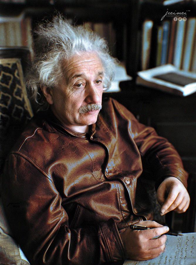 """Albert Einstein wearing his Levi's """"Menlo Cossack"""" leather"""