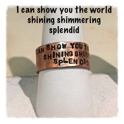 Disneys Aladdin inspired song lyrics a whole new world copper ring