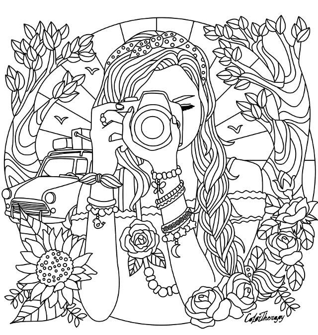 Girl With A Camera Coloring Page Detailed Coloring Pages Cute Coloring Pages Coloring Pages For Teenagers