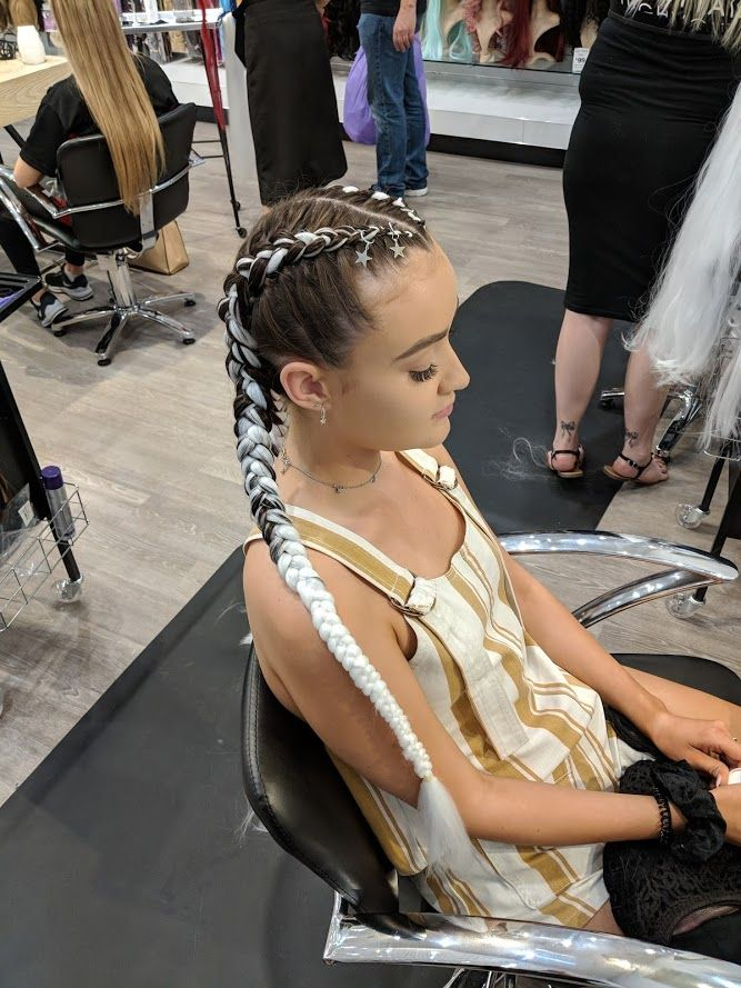 Festival Style White Dutch Braids With Extensions And
