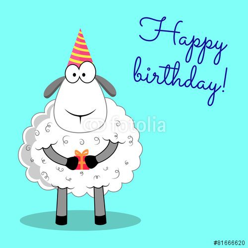 Vector Sheep Happy Birthday Sheep Cartoon Vector Illustration