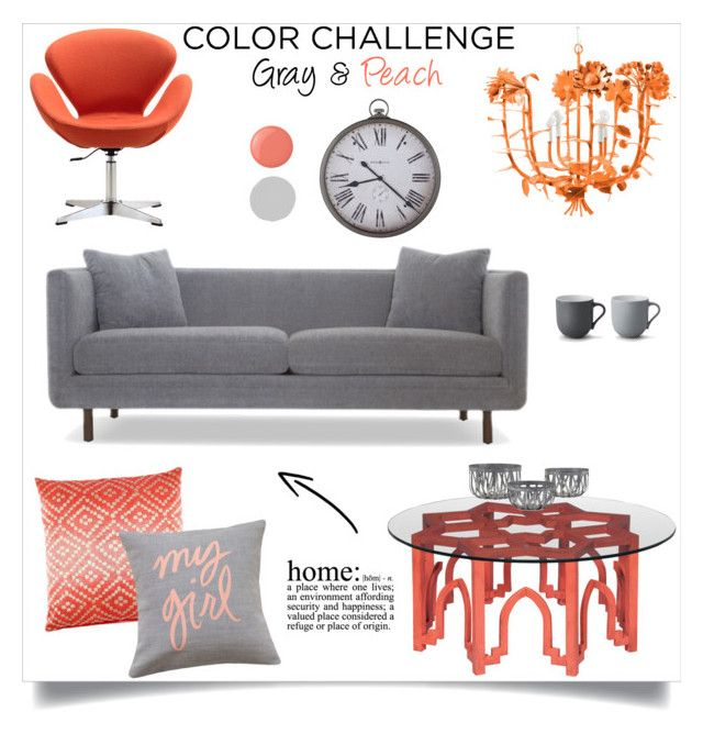 """""""Color Challenge: Gray & Peach"""" by annabu ❤ liked on Polyvore featuring interior, interiors, interior design, home, home decor, interior decorating, Joybird, John Robshaw, Grandin Road and Stelton"""